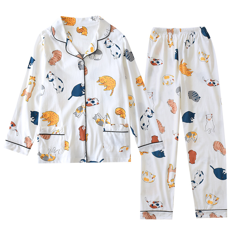 Womens Knitting Cotton Thin Pajamas Cartoon Printing 2 Piece Pyjamas Loungewear Pijama Mujer Long Sleeve Sleepwear Home Clothes