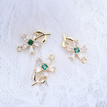 4PCS 8x13MM 24K Gold Color Plated Brass with Colorful Zircon Flower Charms Pendants High Quality Jewelry Accessories(China)
