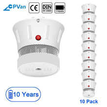 CPVan 10pcs Mini Smoke Detector EN14604 rookmelder 10 jaar CE Certification 85dB fire alarm rookmelder detector de humo