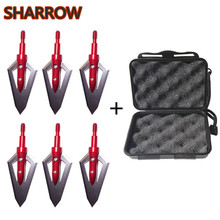 6Pcs 100 Grain Arrowheads Point Tips with Arrow Box Bow 2 Blades Steel Head Screw Broadhead Outdoor Shooting Accessories