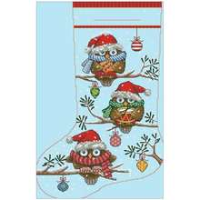 Christmas owl socks patterns counted cross stitch 11ct 14ct