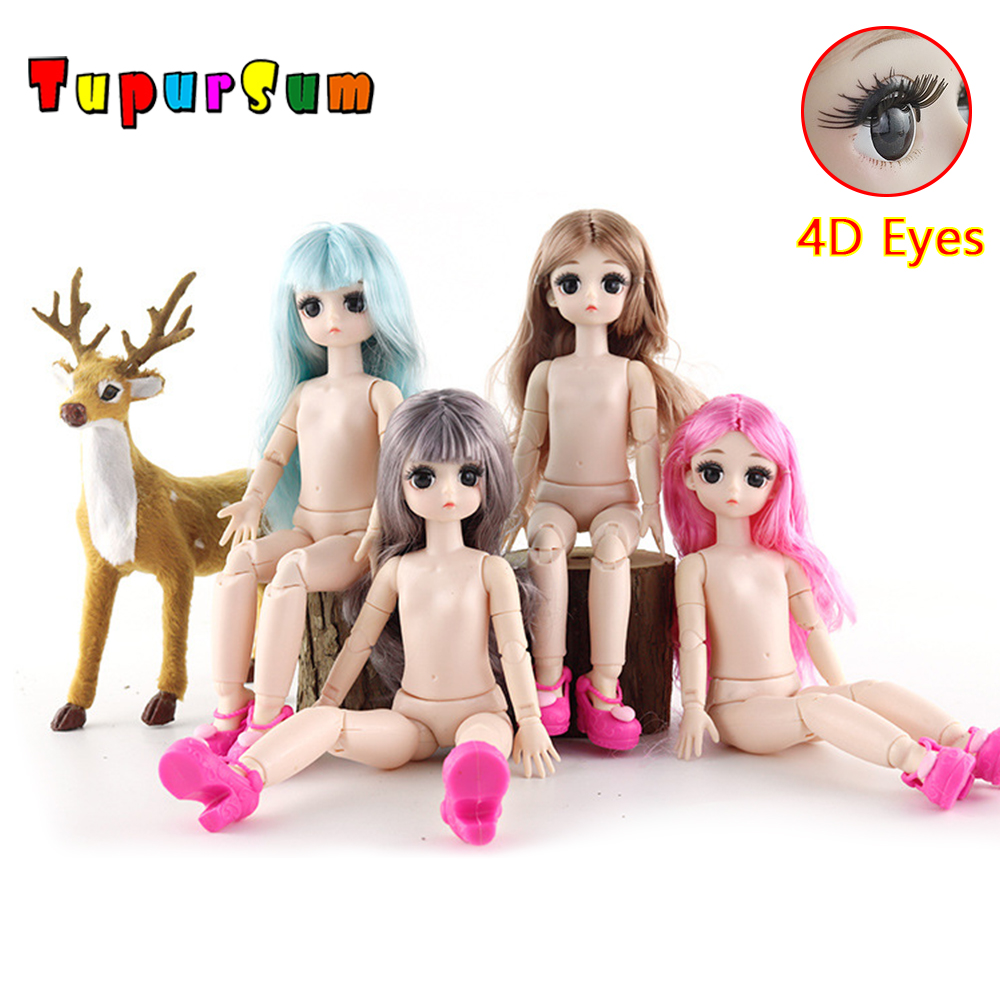 28CM <font><b>BJD</b></font> Doll 21 Moveable Jointed With 4D True Eye blyth Doll Baby Doll Nude Body DIY Long Fashion Doll Toys for Girls Gift image
