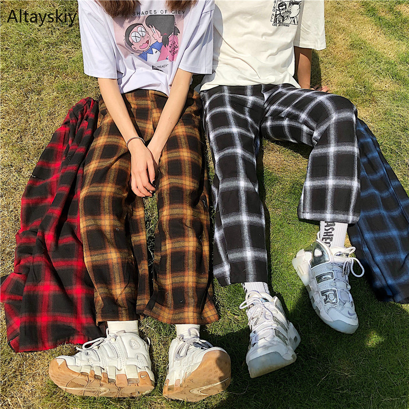 Pants Women Simple Elastic Waist High Quality All-match Plaid Retro Korean Style Lovely Womens Loose Casual Female 2020 Trousers