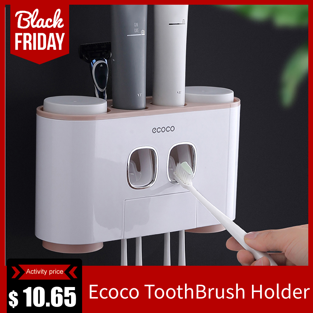 Ecoco ToothBrush Holder Wall Mount Toothpaste Squeezer Bathroom Accessories Set Toothpaste Storage Rack With 4 Cups
