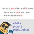 Dandkey About ship by Epacket to Brazilian Add CPF Statement