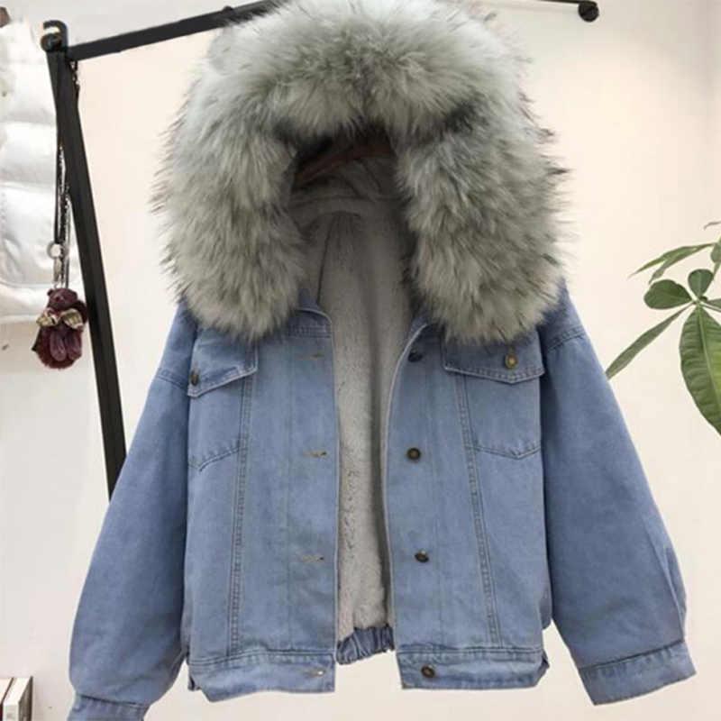 Jaqueta jeans feminina com pele de inverno com capuz casaco de veludo feminino gola de pele do falso 2020 acolchoado jaquetas quentes feminino dropshipping