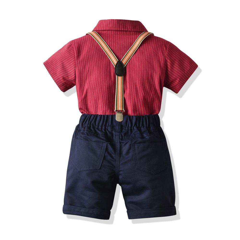 Kid Boy Birthday Party Clothes Set Formal Suit Bow Tie Summer Kids Red Striped Shirt Shorts Children Graduation Gown Outfit Gift 2