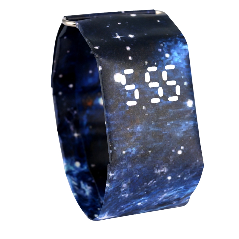 Digital Display Watch For Men Utility Quartz Movement Paper Watches Women Gift Attractive Blue Sky Pattern Paper Wristwatch