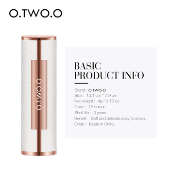 O.TWO.O Matte Lipstick Nude Brown Red Lips Makeup Velvet Silky Smooth Texture Long Lasting Waterproof Lip Stick 12 Colors 4