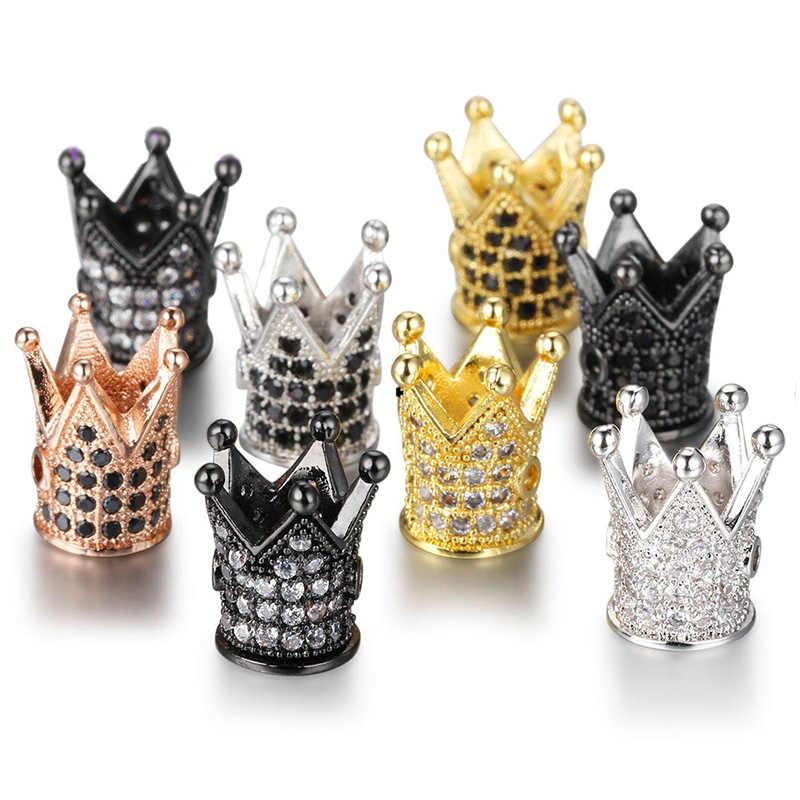 16 stili CZ Corona Perline FAI DA TE di Rame Metallo Micro Pavimenta Cubic Zirconia Crown Branelli Del Distanziatore per In Rilievo Degli Uomini Del Braccialetto Dropshipping