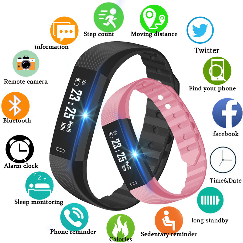 2019 New ID115 Pedometer Smart Watch Time Date Display Wrist Watch Step Counter Montre Bluetooth Connection Clock pk Fitbits