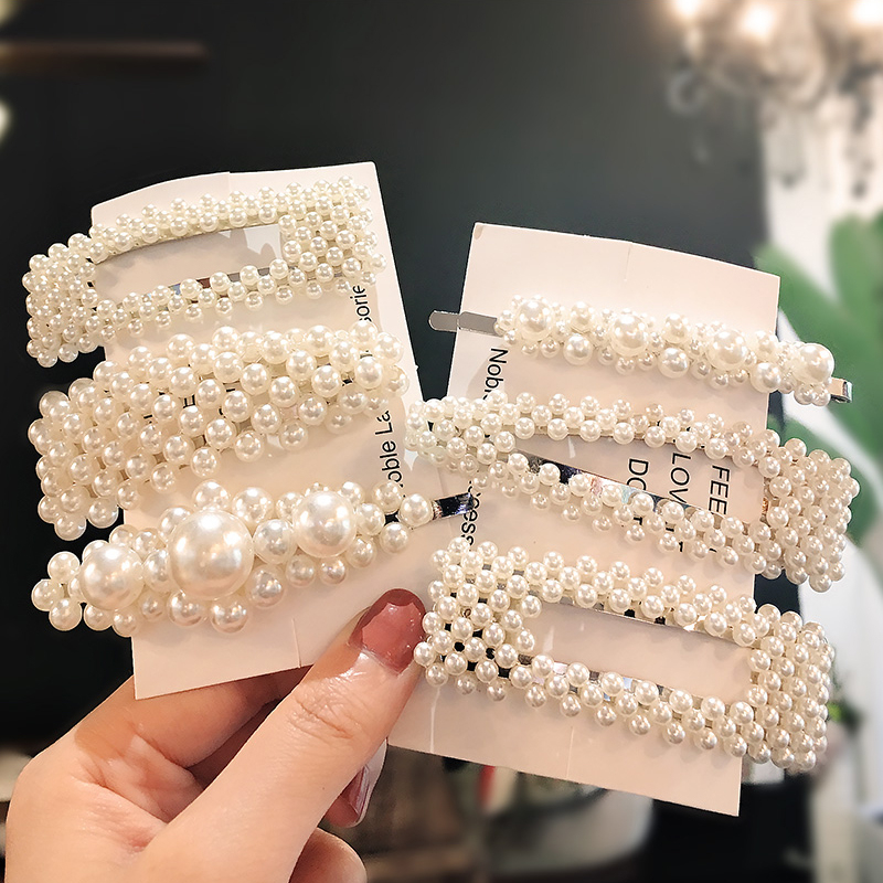 Women Hair Accessories Simulated Pearl Hair Barrettes 2019 Fashion Geometric Hair Clips Hair Pins Girl Jewelry   Headwear