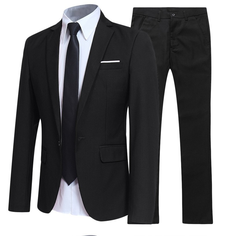Black And White With Pattern Men's Casual Business Suit MEN'S Suit Set Korean-style Business Formal Wear Work Clothes