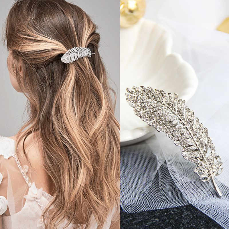 2020 Fashion 1PC Women Leaf Feather Hair Clip Metal Geometry Rhinestones Hairpin Barrette Hair Ornament Party Decoration