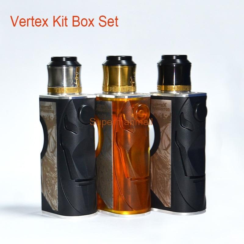 New Vape Vertex Kit With Vertex RDA Pei POM Vaporizer 510 Thread Box Mod Support 18650 Battery Electronic Cigarette RDA RBA RDTA