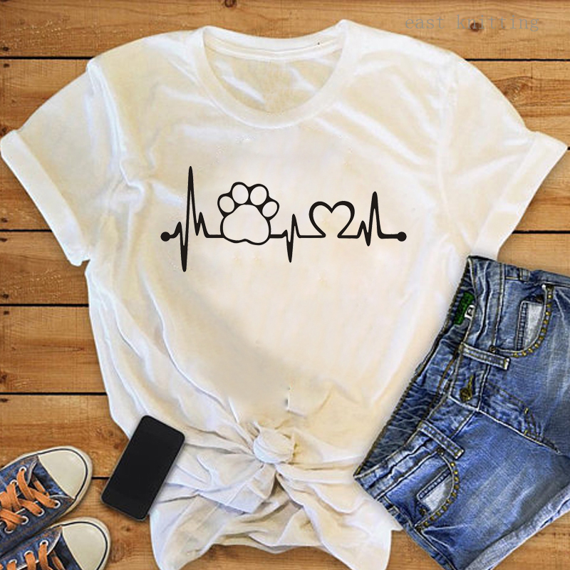 Heartbeat Lifeline <font><b>dog</b></font> cat foot Women <font><b>tshirt</b></font> Halajuku Casual Funny t shirt For <font><b>Unisex</b></font> Lady Girl Top Tees Hipster drop shipping image