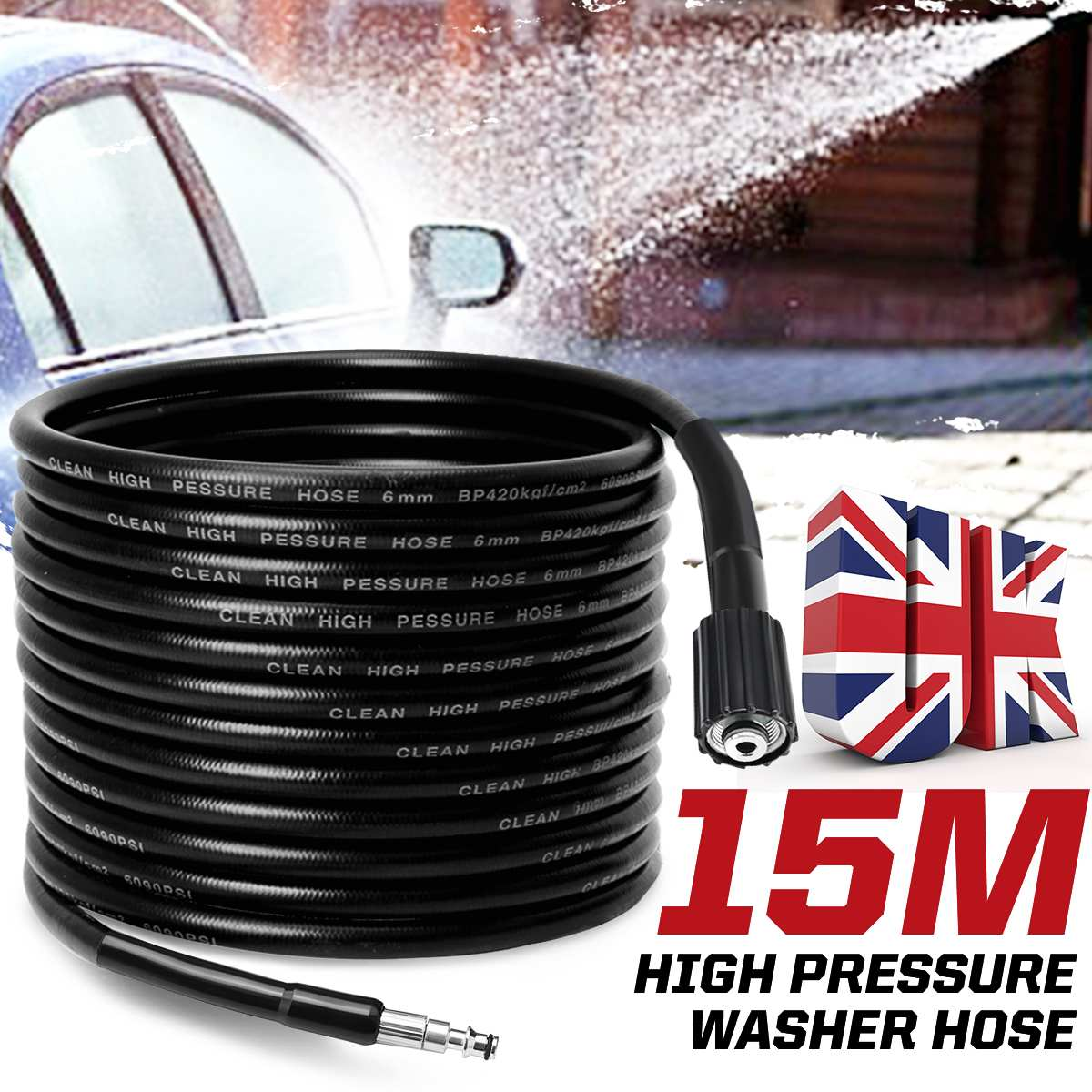 15 meters High Pressure Washer Hose Pipe Cord Car Washer Water Cleaning Extension Hose Water Hose for Lavor Vax Pressure Cleaner