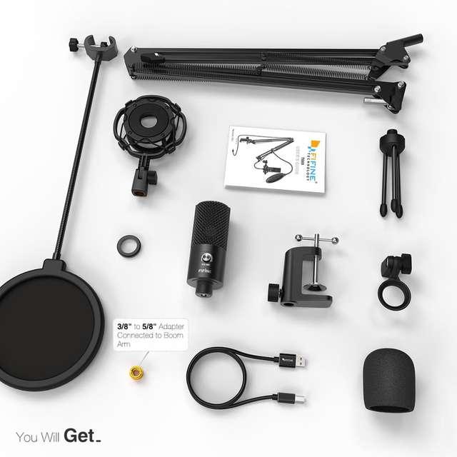 Adjustable Studio Scissor Arm Mount Studio Microphone USB Kit for YouTube Voice