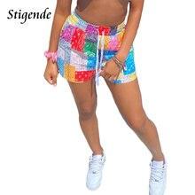 Stigende femmes mode Paisley impression Shorts été plage cordon lâche taille Shorts décontracté taille Midi Patchwork pantalon court