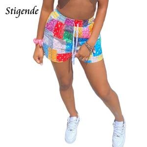 Stigende Women Fashion Paisley Print Shorts Summer Beach Loose Drawstring Waist Shorts Casual Midi Waist Patchwork Short Pants