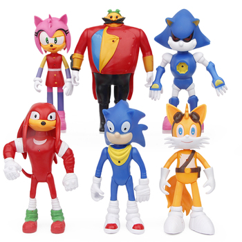 Hot Game Sonic Figure Toys Doll Sonic Tails Knuckles Dr Eggman Amy Rose Anime PVC Action Toy Model For Children Gift 16CM недорого