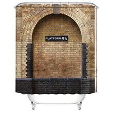Plataforma 9 y 3/4 en London's King's Cross Station marrón Vintage de pared ducha cortina impermeable baño decoración cortinas