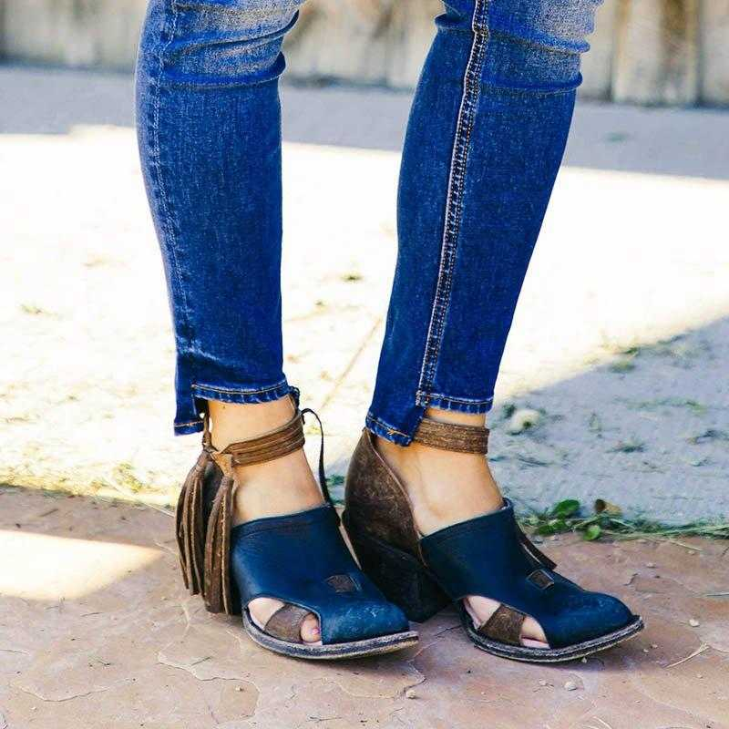 LOOZYKIT 2019 Kadın Çizmeler Püskül Orta Topuklu Ayakkabı PU Deri yarım çizmeler Perçin Toka Günlük Ayakkabı Kadın kısa çizmeler