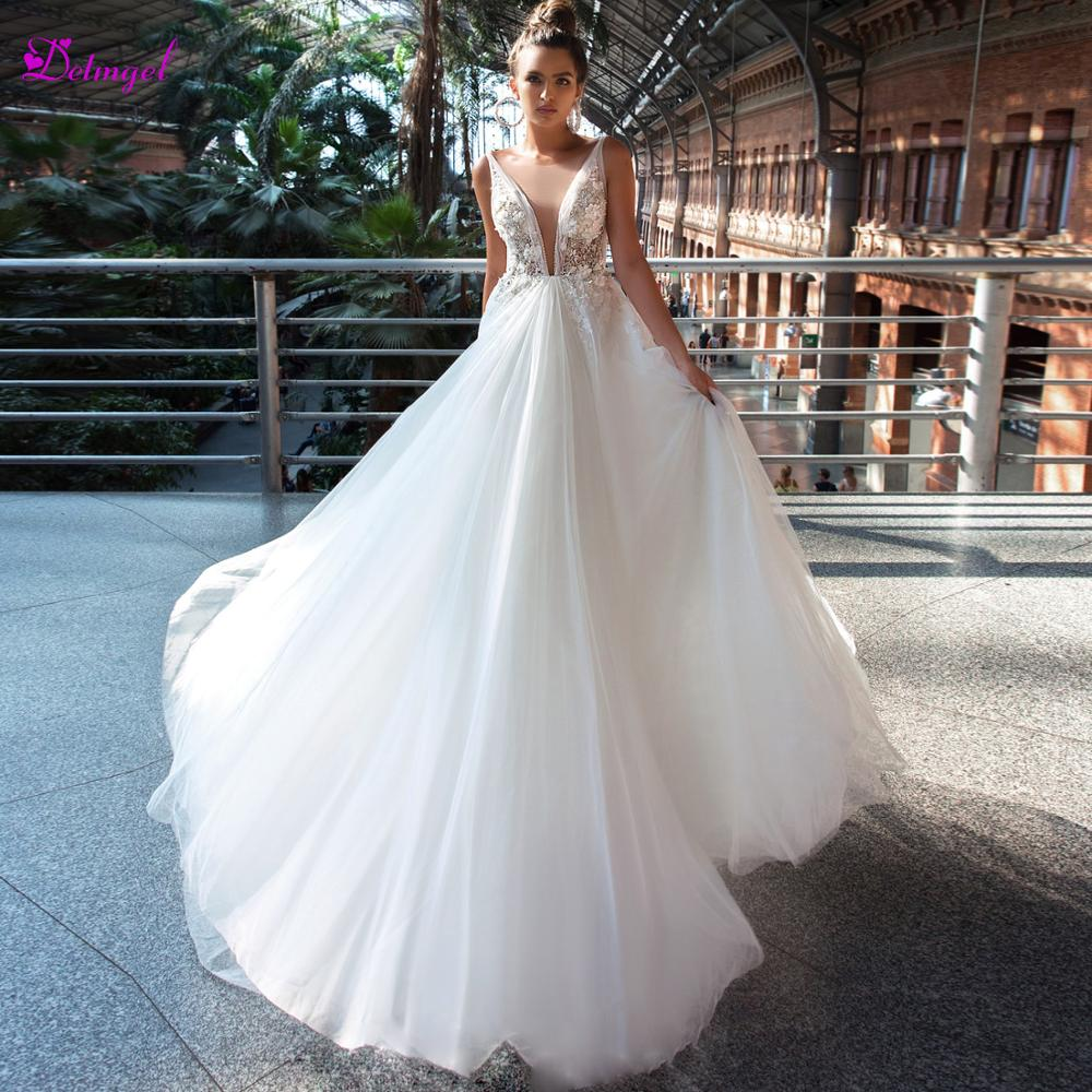 Detmgel Romantic Scoop Neck Zipper Up A-Line Wedding Dresses 2019 Luxury Beaded Appliques Princess Bridal Gown Vestido De Noiva