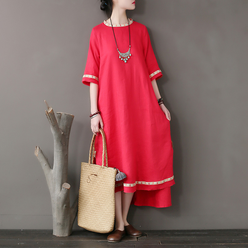Original National Style Women's Dress Stitching Embroidery Tear Edge Linen Dress Loose Sleeve High - Grade