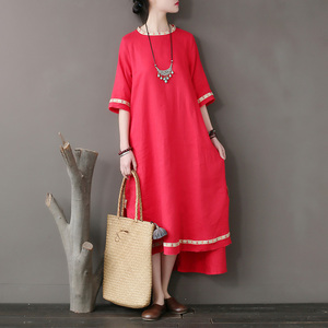 Original national style women's dress stitching embroidery tear edge linen dress loose sleeve high - grade(China)