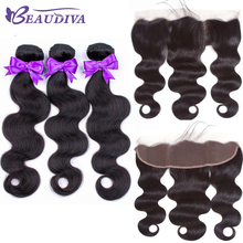 BEAUDIVA Hair Brazilian Body Wave 3 Bundles With Frontal Closure Weave 13x4 Remy Extens
