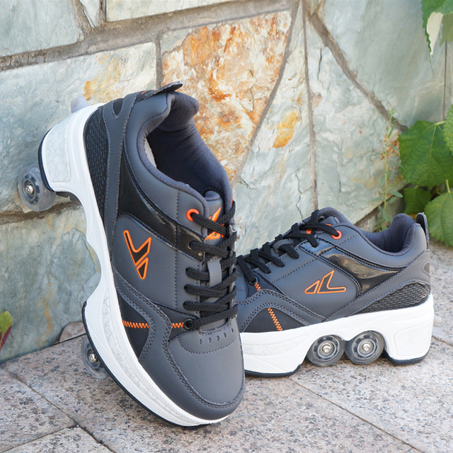 Deformation Parkour Shoes Four wheels Rounds of Running Shoes Roller Skates shoes adults kids unisex 2