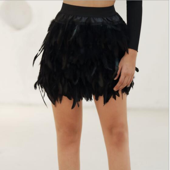 2020 Summer New Black Feather Women Mini Skirt Fashion Sexy Elegant Skirt For Evening Party Event Plumage Plume Skirts