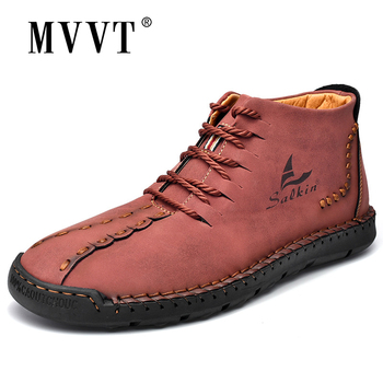 New Handmade Leather Men Boots Fashion Ankle Boots Khaki Blue Outdoor Autumn Boots Men Casual Leather Shoes Spring handmade retro style men boots natural leather ankle boots waterproof working boots outdoor classic autumn shoes men