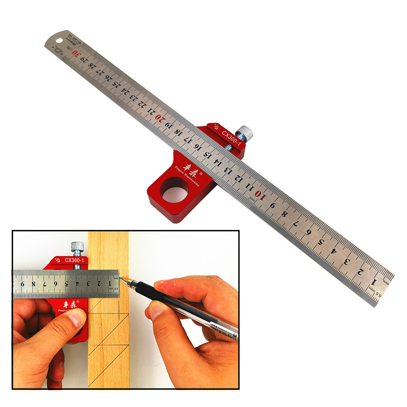 Angle Scriber Steel Ruler Positioning Block Woodworking Line Scriber Gauge Aluminum Alloy For Carpentry DIY Measuring Tools
