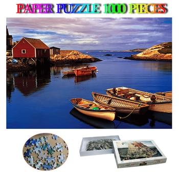 Pegg's Cove Adults Paper 1000 Pieces Puzzle Canada Natural Landscape Jigsaw Puzzles 1000 Piece Kids Adult Decompression Puzzles