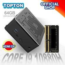 TOPTON – Mini PC de jeux Intel, windows 10 Pro, i9 10880H, i9 9880H, i7 9850H, 2 lan, 2x DDR4, 64go, 2x M.2 PCIE + SATA, HDMI, 4K, DP, wi-fi AC