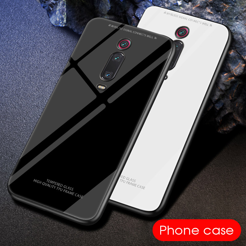 Black White Tempered Glass Case For Xiaomi Mi 9T Pro 9 SE Solid Color Glass Cover Coque For Xiaomi mi9t mi 9se 9t Bumper Shell image