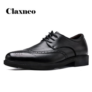 CLAXNEO Man Brogue Shoes Genuine Leather Dress Shoe Male Formal Oxfords Business Office clax Men's Wedding Footwear vikeduo brown italy derby shoes patina brogue handmade office dress shoes mens footwear wedding business leather shoes zapatos