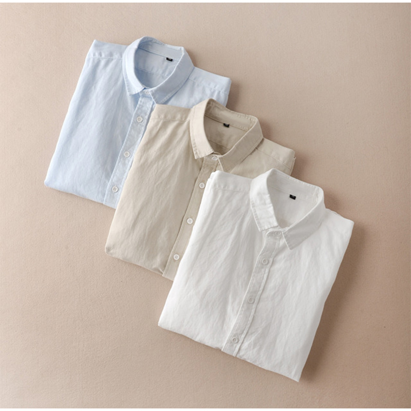 Cotton Men's White Shirt Shirt Long-sleeved Lapel Men's Shirt Shirt Summer 2020 Clothes Men