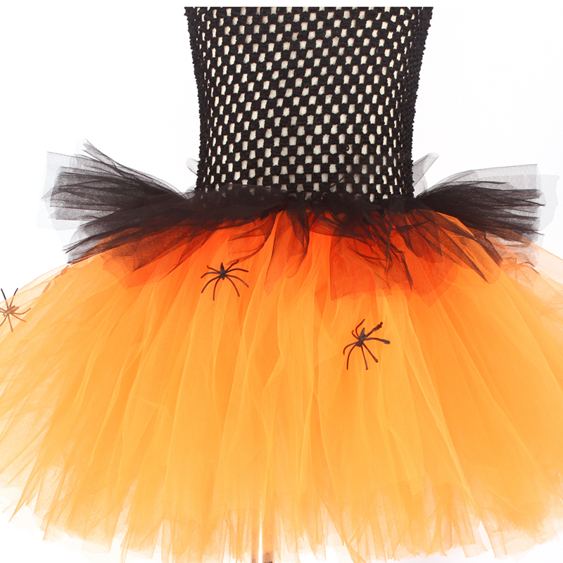 Spider Girls Witch Tutu Dress with Hat Black Purple Children Halloween Carnival Cosplay Witch Costume Kids Party Fancy Dresses (9)