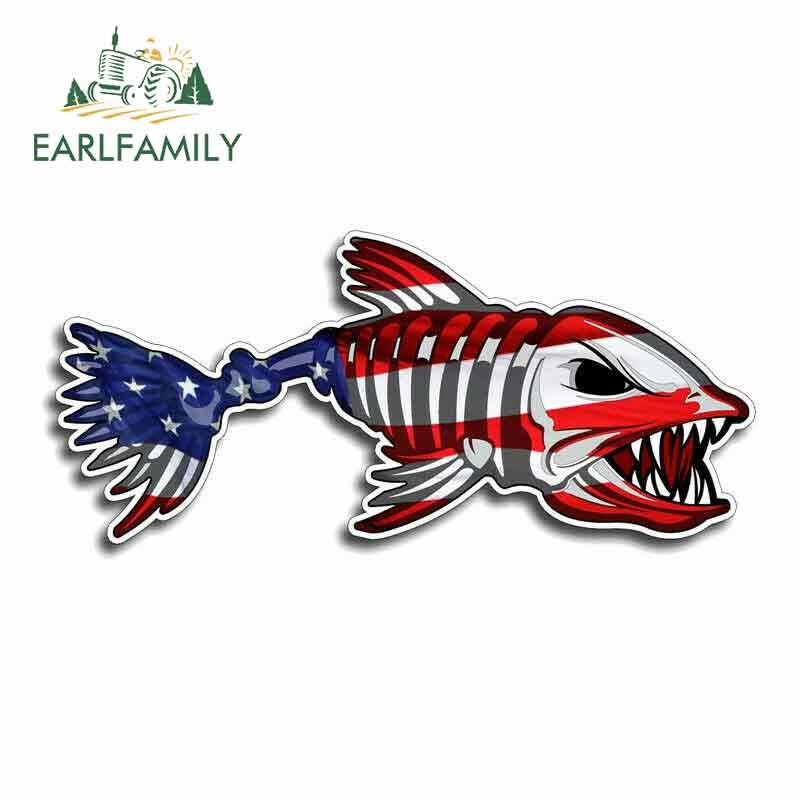 Earlfamily 13 см x 13 см для костяной рыбы, США, «сделай сам», мотоциклетные наклейки, водонепроницаемые Модные виниловые автомобильные наклейки, ук...