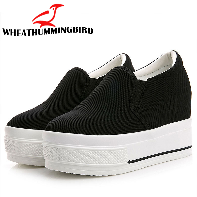 Women's Fashion Wedges Thick Soled Hidden Increasing Shoes Lady Slip On Flat Platform Loafers Shoes Casual Flats Shoes MC-04