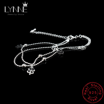 Newest Fashion 925 Sterling Silver Double Layer Small Ball Chain Anklet Lucky Clover Pendant Anklets Bracelet For Women Jewelry 1