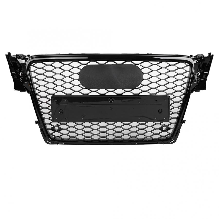 For RS4 Style Front Sport Hex Mesh Honeycomb Hood Grill Gloss Black for <font><b>Audi</b></font> <font><b>A4</b></font>/S4 B8 2009 <font><b>2010</b></font> 2011 2012 Front Bumper Grille image