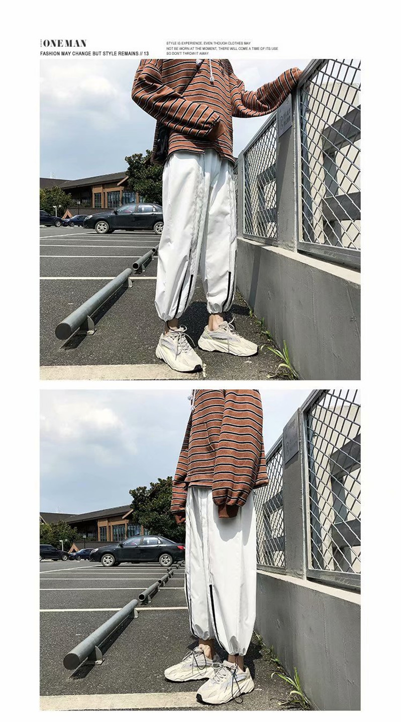 Summer Loose Casual Ankle-Length Pants Thin Men`s Women Jogger Pants Fashion Teens Boys Girls Joggers Sports Striped Trousers (14)