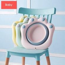 Rosa bebê lavatório de silicone dobrável gato pata dos desenhos animados crianças bumbum bacia portátil banheira de banho do bebê crianças bacia chuveiro produtos