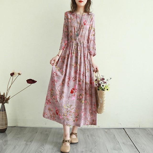 Women Cotton Linen Casual Dress New Arrival 2021 Summer Vintage Style Floral Print Ladies Elegant A-line Long Dresses T001 5