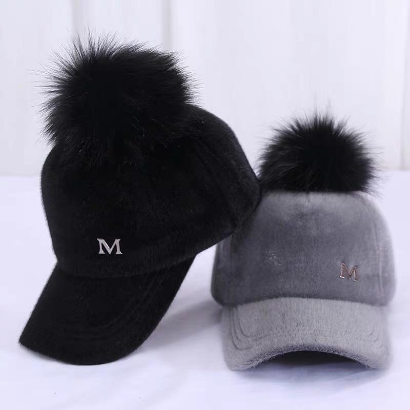 Unisex Causal Caps New Brand Baseball Warm Winter Cap for Women Faux Fur Pompom Ball Cap Adjustable Casual Snapback Hat Soft Cap