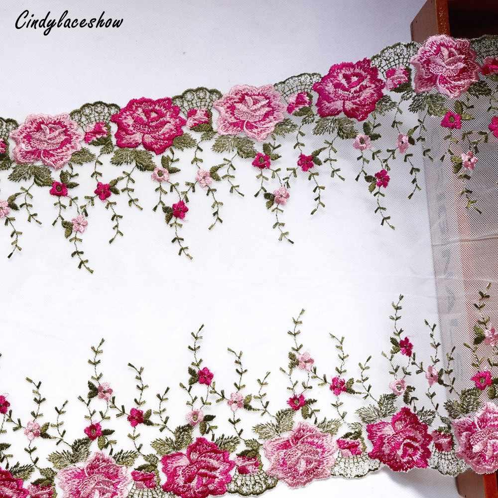 1 metre 31.3 cm genişlik kırmızı çiçek İşlemeli dantel Trim aplike dantel kumaş beyaz pembe yumuşak örgü iç çamaşırı elbise süslemeleri